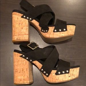H & M cork style platform wedge